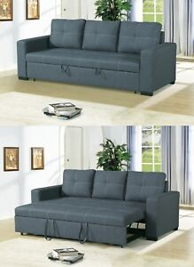 Small Space Convertible Sofa Bed Polyfiber Blue Grey Plush Couch
