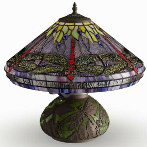 Tiffany Style Dragonfly Reading Accent Stained Glass Table Lamp with Mosaic Base