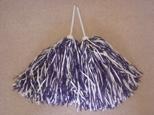 PAIR of NAVY & WHITE MULTI COLOR ROOTER Pom Poms *DALLAS COWBOY COLORS*