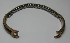 Antique STONEWALL 10k Yellow Gold GF & Stainless Steel Leather Watch Band #T287