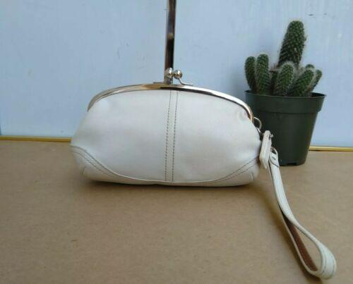 Coach Vtg Soho Kisslock Ivory Leather Framed Wris… - image 1