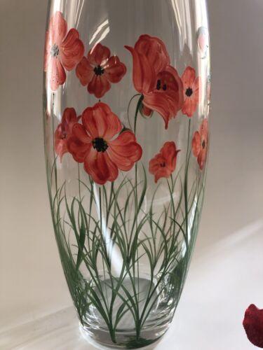 A peint à la main Grand baril Poppy Vase