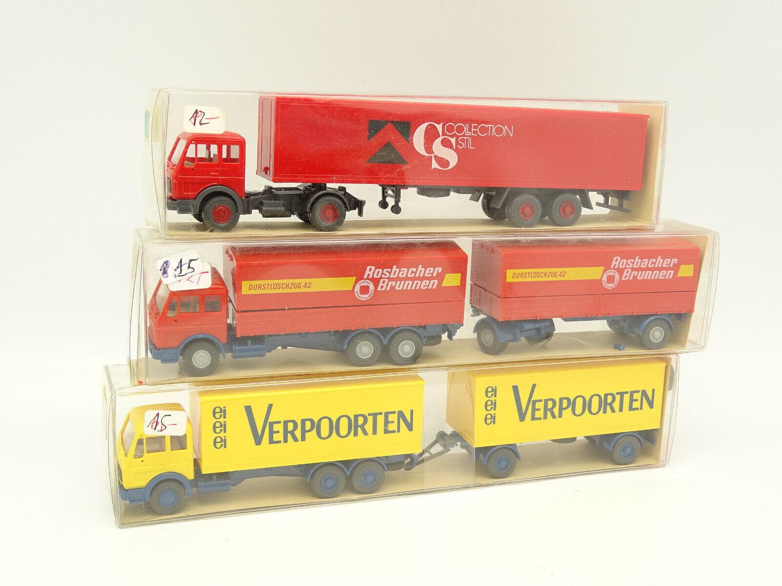 vendiendo bien en todo el mundo Wiking 1 87 87 87 ho - 3 unid. camiones remolque semi mercedes 1632 F  descuentos y mas