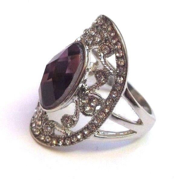 Bague en silver 925 marquise poinçon améthyste cristaux size 58 bijou vintage