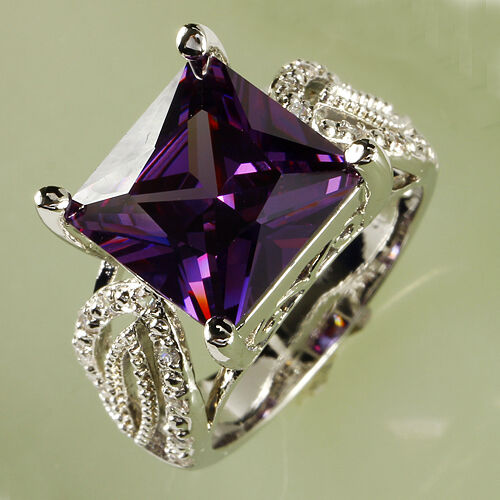 Amethyst /& White Topaz Gemstone Silver Ring Taille 7 8 9 10 princesse coupe magnifique