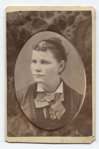 CDV, PORTRAIT WOMAN WITH PAINFUL BANGS. BLOOMSBURG, PA.