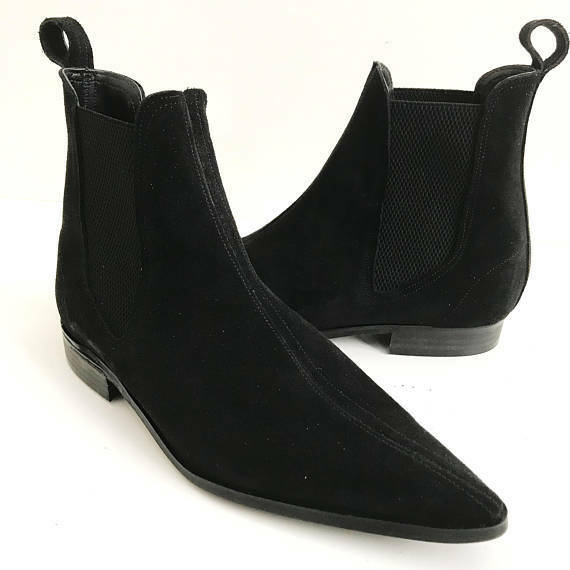 Homme Fait à la main bottes en daim noir Chelsea mode Formal Wear   Décontractée Chaussures