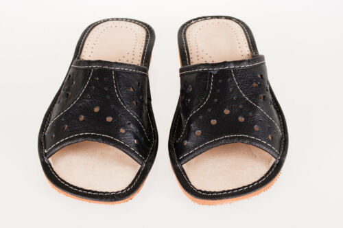 Womens Natural Leather Slippers Sandals Mules Beach Size 3 4 5 6 7 8 SLine