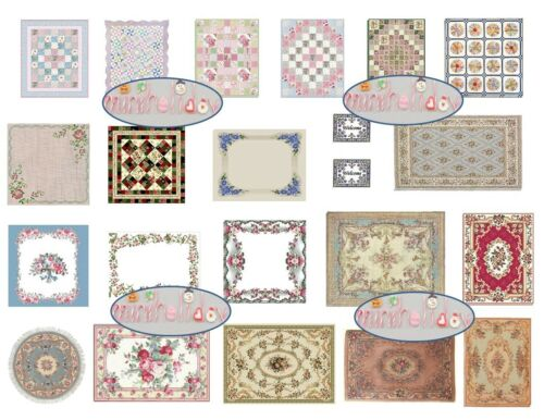 """Dollhouse Miniature Computer Printed Fabric 1:48 Quarter 1//4/"""" Quilts /& Rugs"""