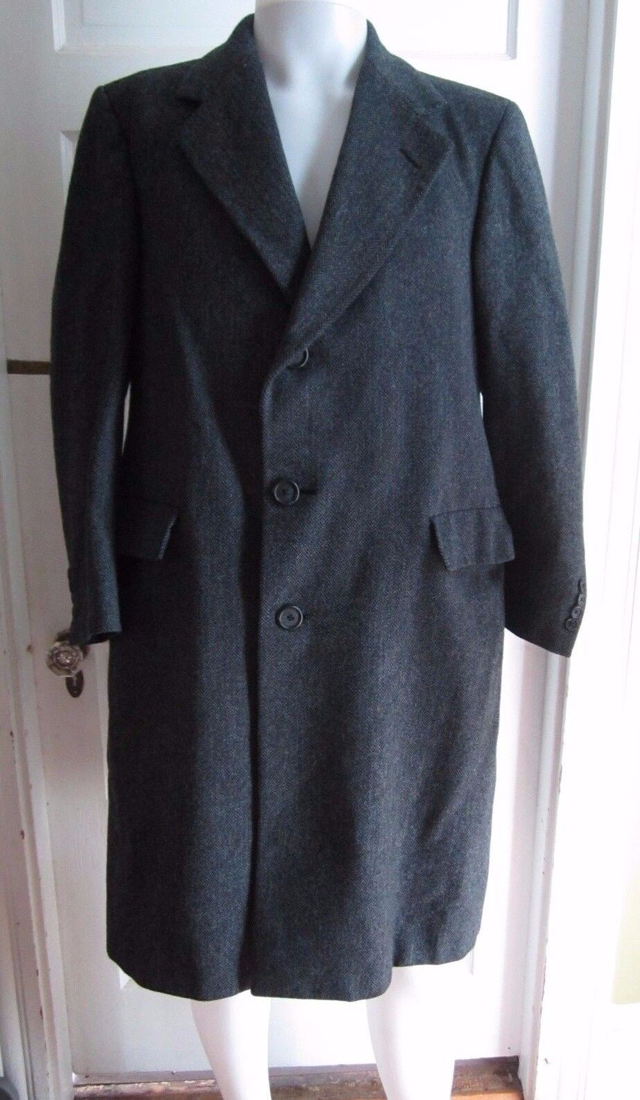 Vintage HART SCHAFFNER & MARX  Herren WOOL Herringbone Tweed Long Peacoat Coat S M