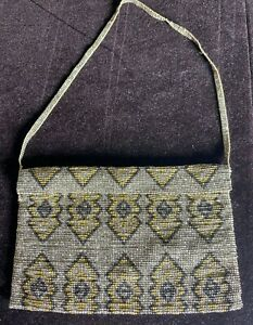 Antique Art Deco Small Purse Bag with Steel Cut Beads WW28