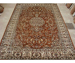 Exclusive-Burnt-Orange-Rust-Floral-Hand-Knotted-Rug-Wool-Silk-Carpet-9-x-6-039