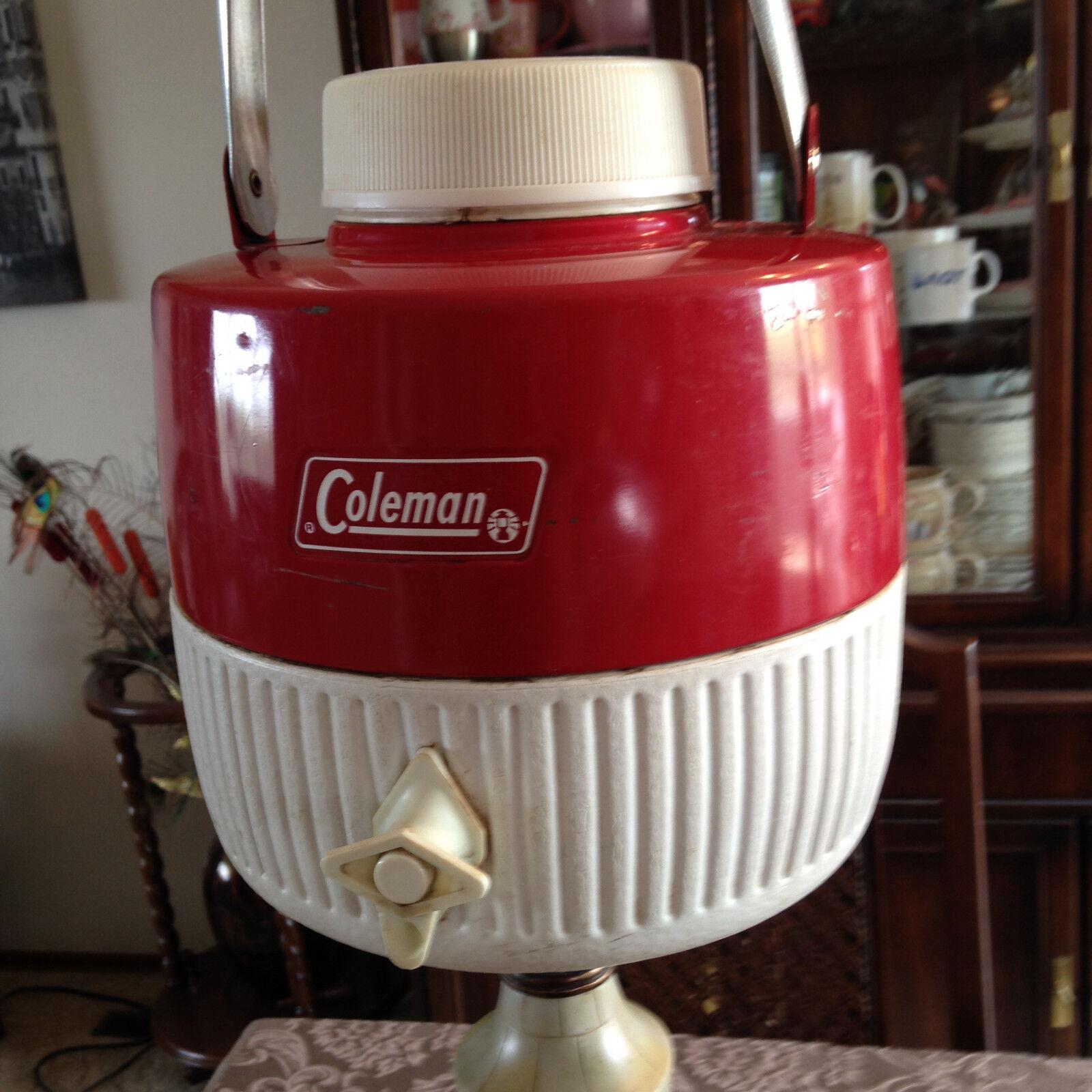 Vintage Water Jug Red Metal Cooler Coleman with Original Box SNOW-LITE Jug