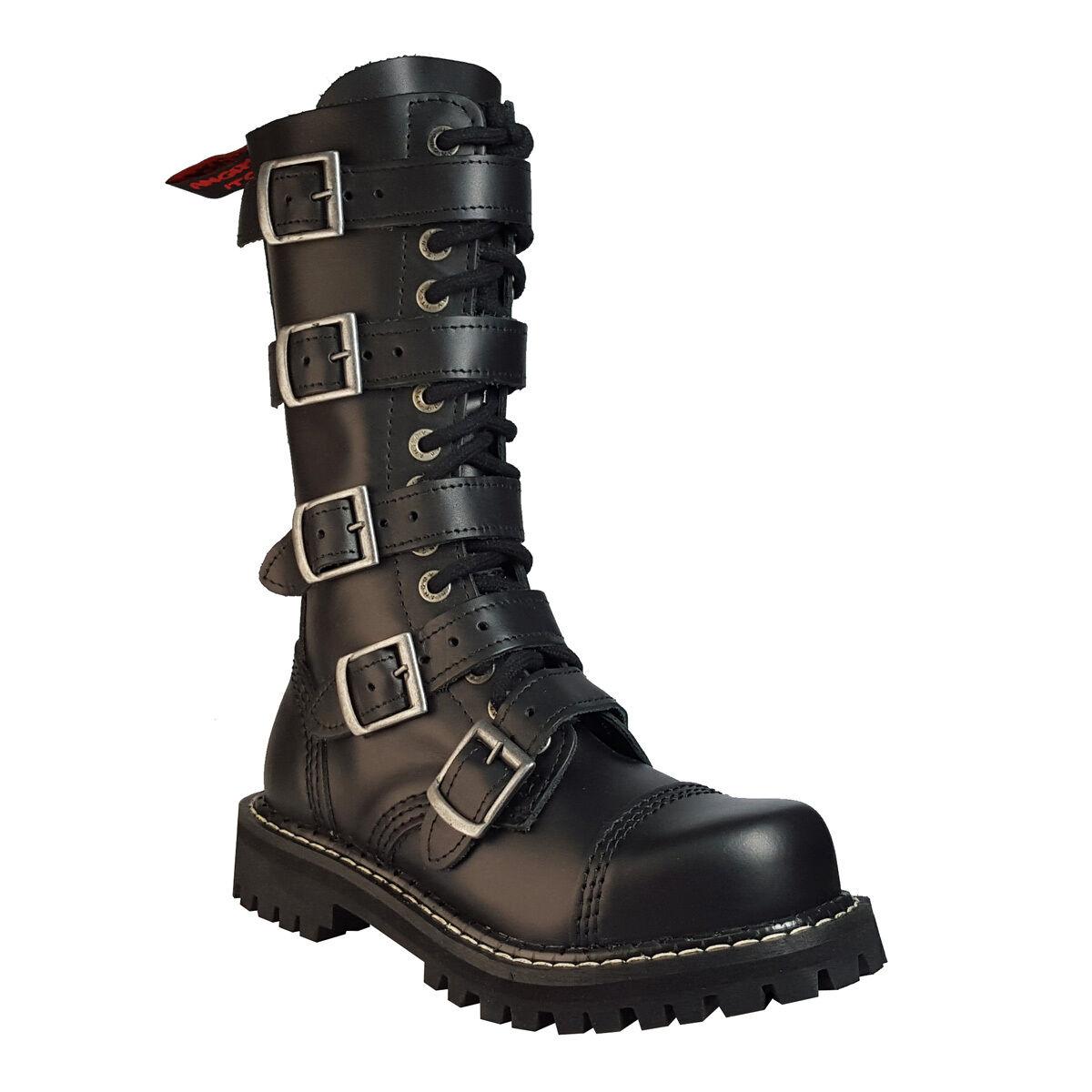 Angry Itch 14 trous punk noir boucle en cuir ranger bottes steel toe zip