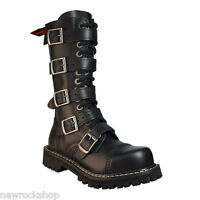 Angry Itch 14 Hole Gothic Punk Black Buckle Leather Army Ranger Boots Steel Toe