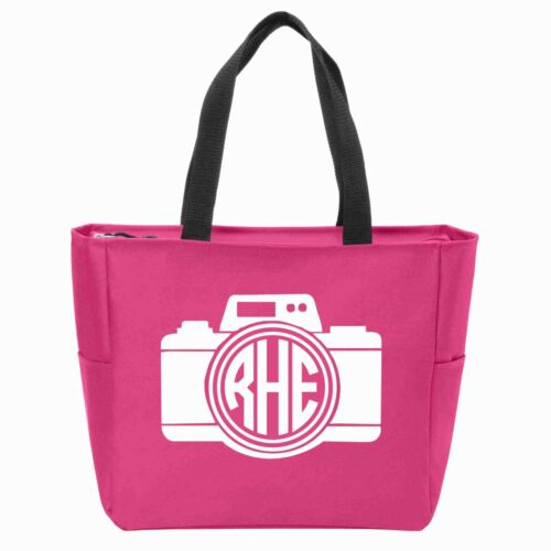 Many Colors Available Camera Monogrammed Zipper Tote
