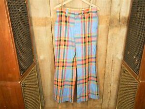 Vintage-Bellbottom-Hose-Plaid-Knit-31-5-Hippie-1960-039-s-70-039-s-Contur