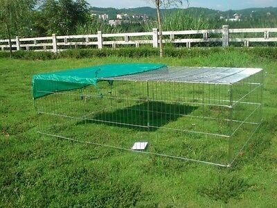 RABBIT GUINEA PIG CHICKEN DUCK DOG PET PLAYPEN METAL ENCLOSURE RUN HUTCH ROOF