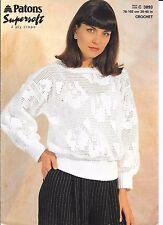 "Crochet Sweater 30"" -40"" 4 capas Patons patrón 3893"