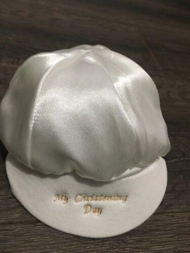 satin christening CAP baby babies girls boys white ivory