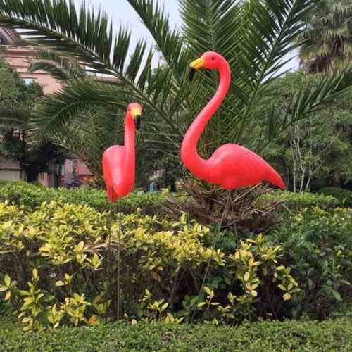 1 Paar Flamingo Deko Garten /& Teich Figuren Künstlich Gartenstecker Ornament ON