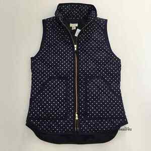 J Crew Factory Excursion Down Quilted Puffer Vest In Polka