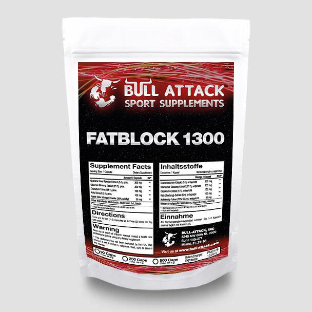 Fatblock-1300  Diät-Slim-Fatburner Guarana Ginseng = 90 Kapseln / Monats-Pack