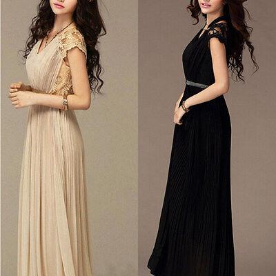 Lady Chiffon Maxi Dress Summer Long Lace Evening Cocktail Party Skirt Dress
