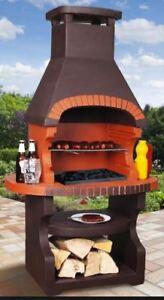 Dettagli su BBQ BARBECUE grill caminetto da giardino da esterno CARBONE  MURATURA cucina Massive- mostra il titolo originale