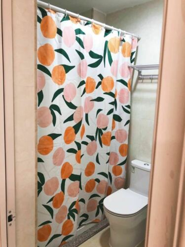 Peachy Peach Shower Curtain Waterproof Fabric Cute Fruity Bath Decor Xmas Gift