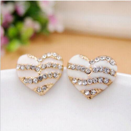 New  Women Heart Ear Stud Lady Crystal Rhinestone Earrings Jewelry Gift