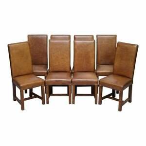 Set Of Eight Rrp 3800 Halo Soho High Back Heritage Brown Leather Dining Chairs Ebay