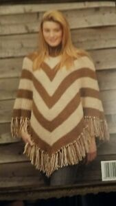 Details about king cole aran chunky ladies poncho knitting pattern