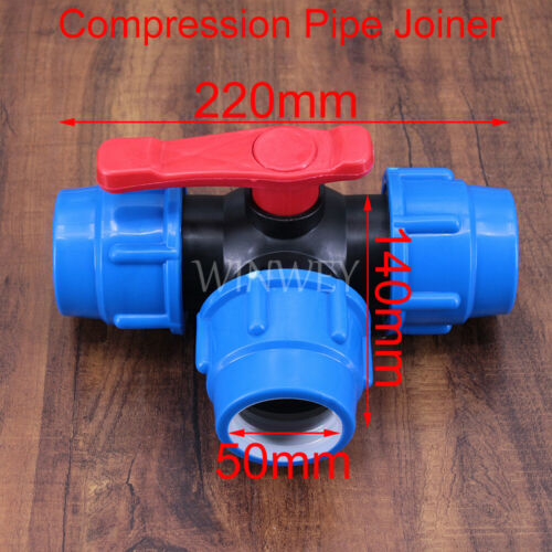 Hi-Q water pipe quick connection tee valve switch tap water plastic ball 20-50MM