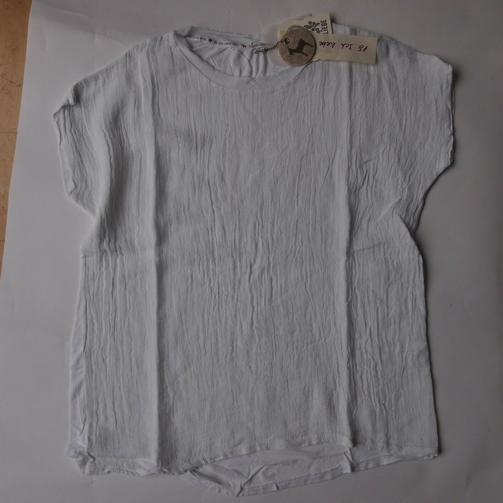 Heimatliebe Damen T-Hemd Blause Gr. M Sommer 2019  NEU weiß mit Leinen Hemd