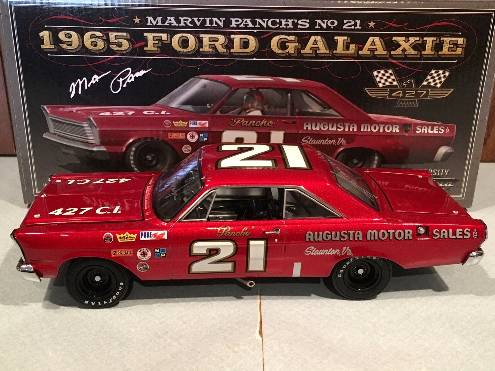 Autographed University of Racing 1965 Marvin Panch Augusta Motor Galaxie 1 24