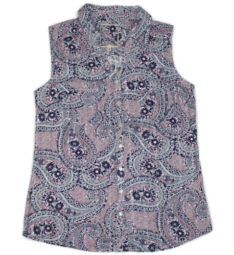 Summer Ladies Ex-Highstreet Paisley Print 100/% Cotton Sleeveless Blouse//Shirt