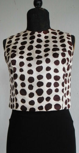 VTG Silk sleeveless lined top back buttoned 50's p