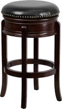 Flash Furniture 29'' Backless Cappuccino Wood Bar Stool W/Leather Swivel Seat
