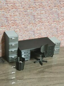 1:24 SCALE 3D PRINTED OFFICE SET FOR GARAGE DIORAMA + FREE 1:24 COFFEE MACHINE!