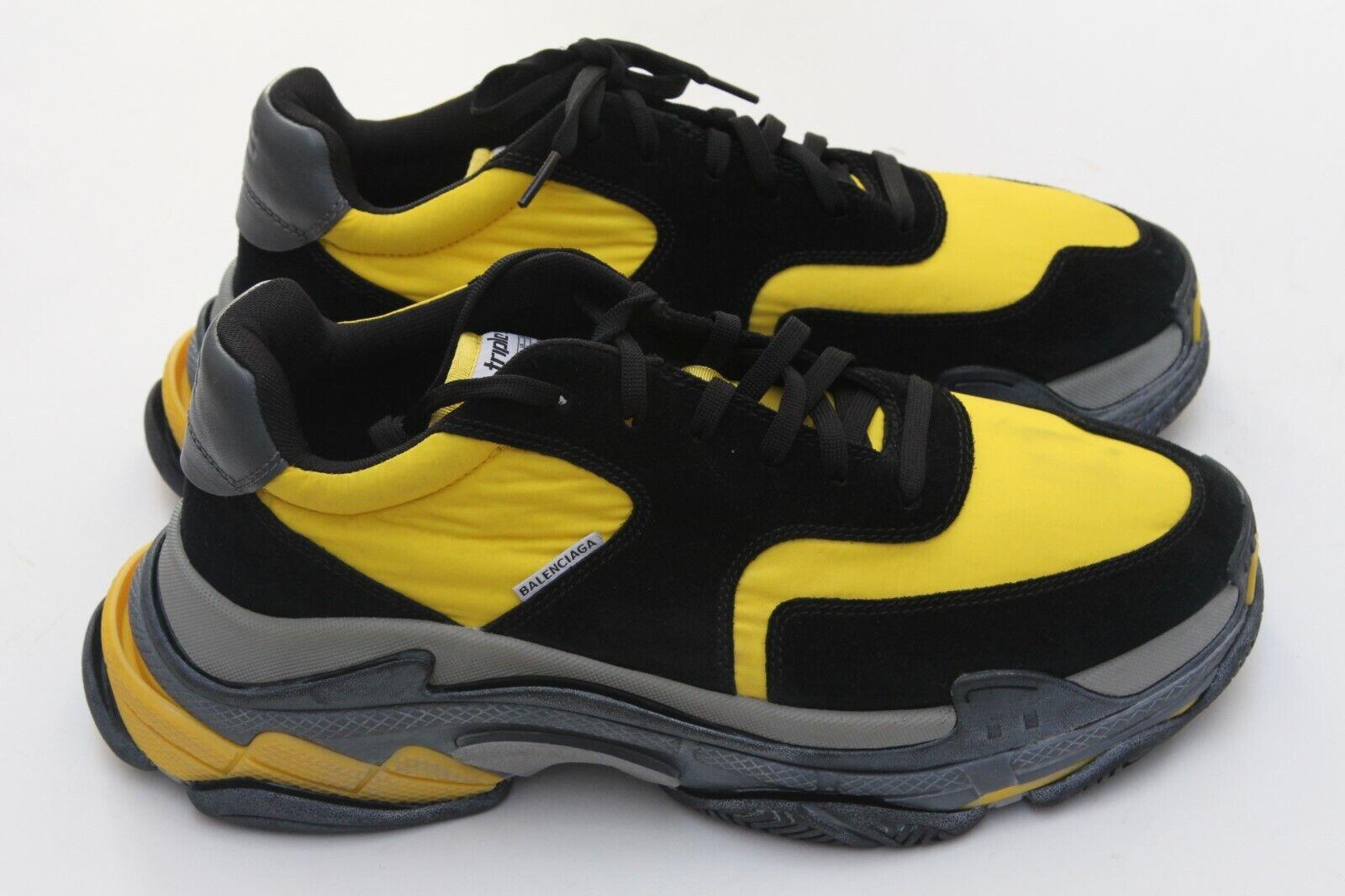 Los zapatos triple s, negro y amarillo, SZ 45   12.