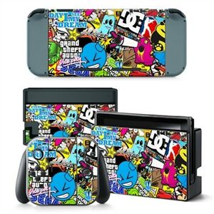 sticker bomb nintendo switch protective skin 4 pc sticker. Black Bedroom Furniture Sets. Home Design Ideas