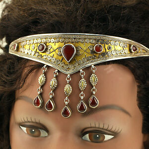 Handmade-Tribal-CROWN-Real-Sterling-925-SILVER-Carnelian-Stone-GOLD-Wash-619j3