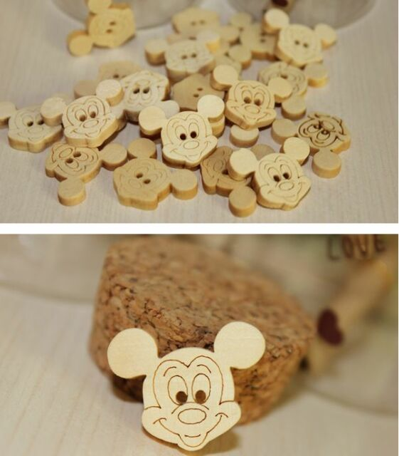 20-100pcs Lovely Mouse Wood Wooden 2 hole Button Sewing Scrapbook DIY 20mm
