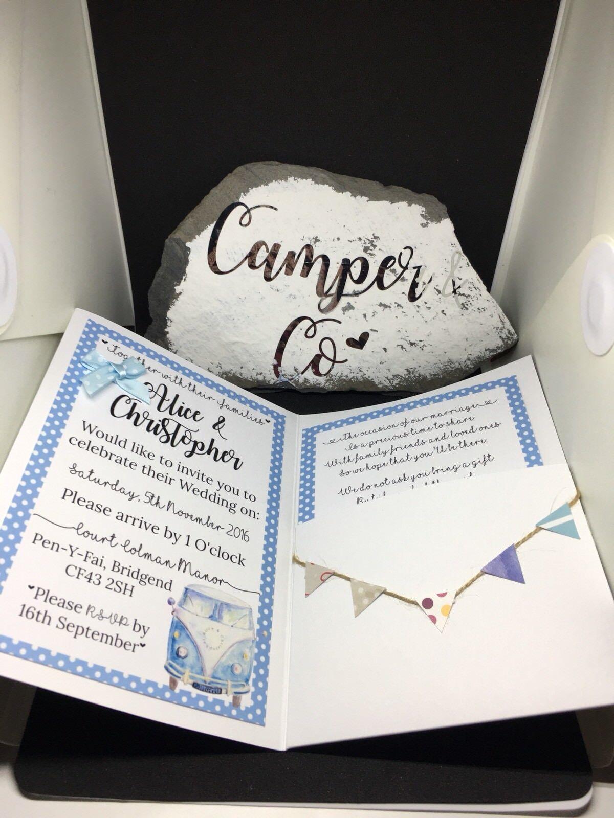 50 entièreHommes t personnalisables Campervan livret mariage livret Campervan invitations-RSVP, poème & envel 81419c