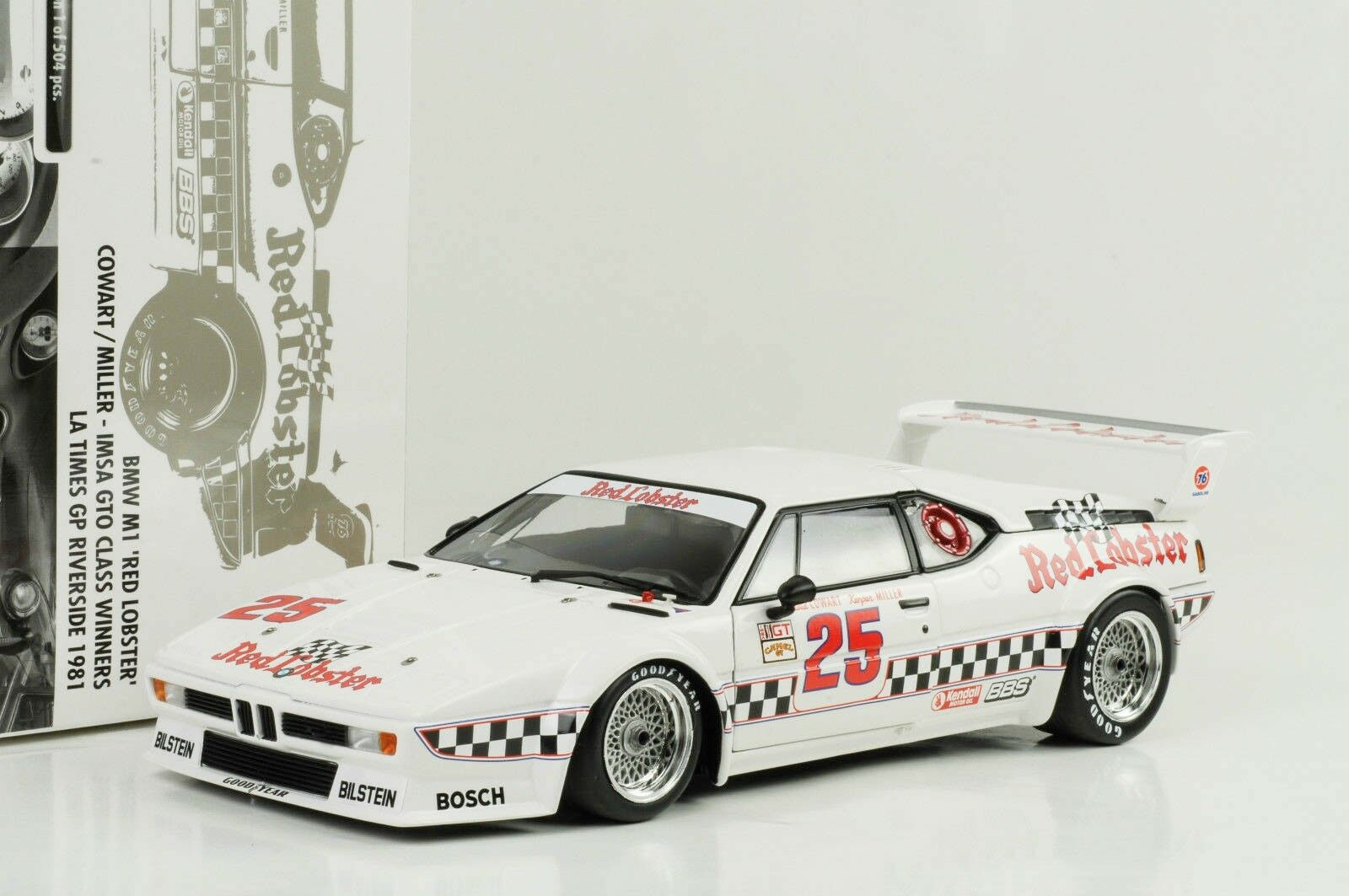 1981 BMW M1 Red Lobster Imsa Gp Riverside Winner 1 18 Minichamps 504 Pcs
