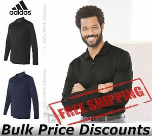 Adidas-Climalite-Mens-Long-Sleeve-Sport-Shirt-Button-Blank-Plain-A186-up-to-3XL