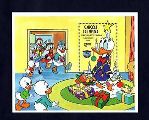 Caicos-es-1984-Disney-Navidad-Donald-Duck-Star-Menta-nunca-con-bisagras-de-menta-S-hoja
