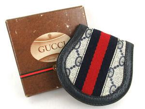 6cb934242e4 Authentic GUCCI OLD Gucci GG Web Leather Coin Wallet Purse + Box