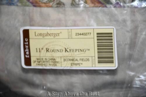 "Longaberger Botanical Fields Stripe 11/"" Round Keeping Basket Liner #23440277 NEW"